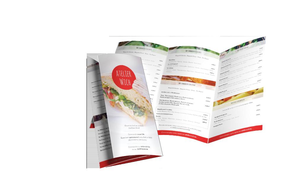 Création d'un menu dépliant pour l'Atelier Wich